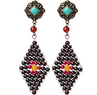 Trendy Special Rhombus Shape Garnet Beads And Red Agate Wire Wrapped Earrings With Tibetan Accessory