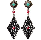 Trendy Special Rhombus Shape Black Agate Beads Wire Wrapped Earrings With Tibetan Accessory