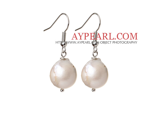 Fashion Simple Design White Nuclear Pearl Earrings With Fish Hook