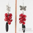red coral black agare earrings