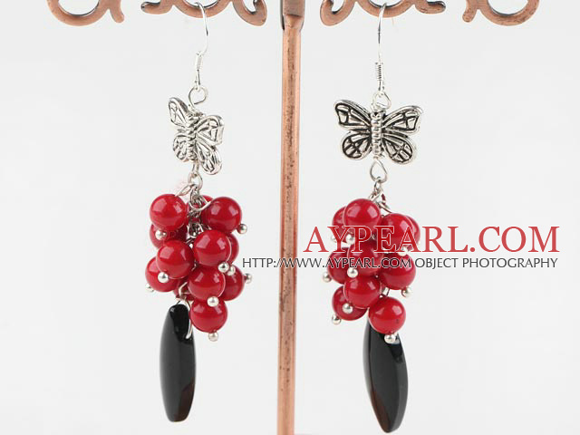 Beautiful Cluster Style Round Red Coral And Eye Shape Black Agate Earrings With Butterfly Charm