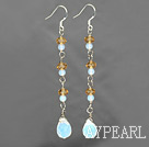 Wholesale long style opan and yellow crystal earrings
