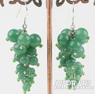 Wonderful Cluster Green Round Aventurine And Glass Beads Dangle Earrings With Fish Hook