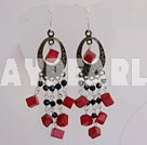 black crystal and red coral earrigns with 925 silver hook