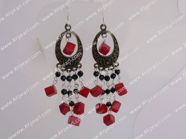 Vintage Long Chain Loop Style Black Crystal And Red Cubic Coral Dangle Earrings