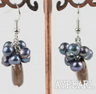 Wholesale black pearl and smoky quartze earrings