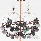 Wholesale garnet and black lip shell earrings