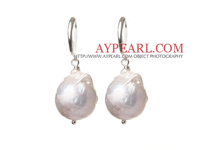 Fashion Simple Design White Nuclear Pearl Earrings With Lever Back Hook