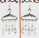 Wholesale hanger style white pearl and crystal earrings