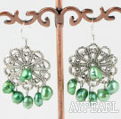 Lovely Dyed Green Freshwater Pearl And Large Flower Metal Charm Earrings