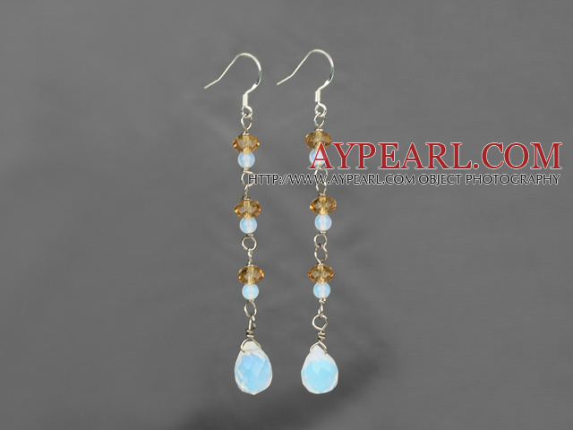 long style opan and yellow crystal earrings