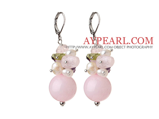 Fashion Beautiful Rose Quartz Olivine Pearl Amethyst Earrings With Lever Back Hook