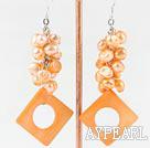 Wonderful Cluster Style Orange Yellow Series Freshwater Pearl And Hollow Rhombus Shape Shell Dangle Earrings