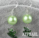 Fashion Round Acrylic Pearl And Green Frog Dangle Earrings With Fish Hook