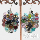 Wholesale cluster style colorful crystal earrings