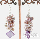 Wholesale natural purple pearl and shell earrings