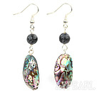 Wonderful Large Abalone Shell And Round Flash Stone Dangle Earrings With Fish Hook