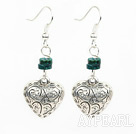 phoenix stone heart tibet silver earrings