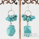 Fashion Round And Irregular Cluster Looped Turquoise Dangle Earrings