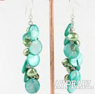Fashion Green Series Freshwater Pearl And Disc Shell Dangle Earrings With Fish Hook
