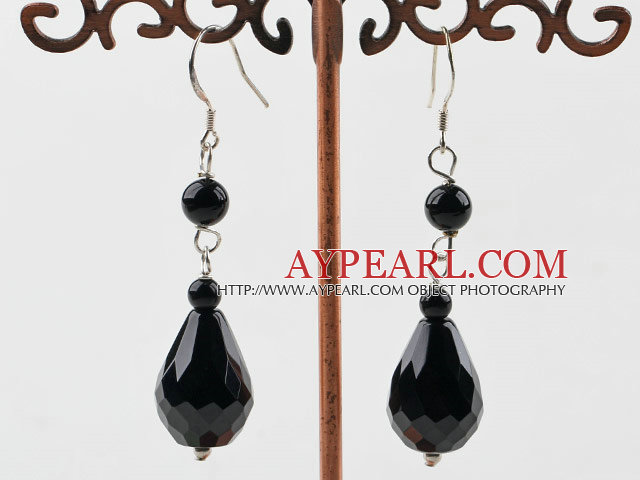 Fashion Round And Faceted Teardrop Pendant Dangle Earrings With Fish Hook