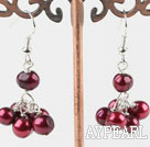 Cute Dyed Red Freshwater Pearl Cluster Loop Dangle Earrings With Fish Hook