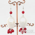 Wholesale white shell and red coral earrings