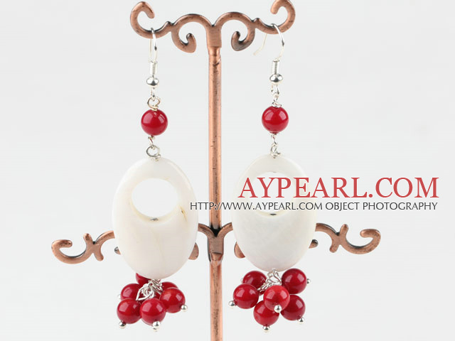 Popular Hollow White Shell And Cluster Round Red Coral Dangle Earrings With Fish Hook