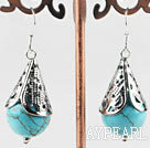 Wholesale turquoise ball earrings with tibet silver cap