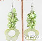 Fashion Apple Green Freshwater Pearl And Hollow Shell Flower Cluster Earrings