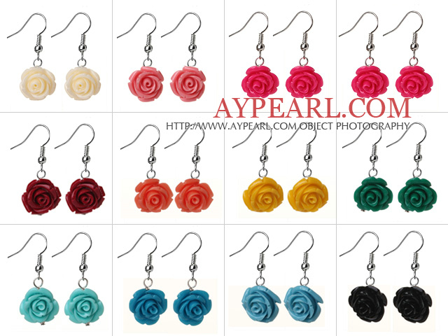 12 Pcs Fashion Style Multi Color Rose Flower Earrings