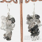 Wholesale Lovely Black And Gray Rutilated Quartz Chipped Cluster Dangle Earrings With Fish Hook
