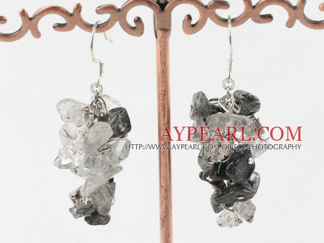 Lovely Black And Gray Rutilated Quartz Chipped Cluster Dangle Earrings With Fish Hook