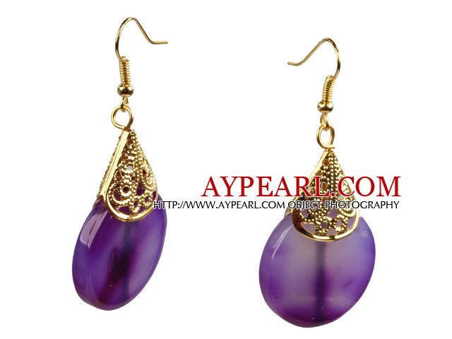 Summer Fashion Style Oblate Purple Agate Golden Hook Dangle Earrings