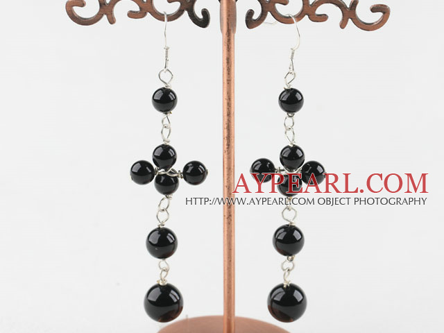 Lovely Long Style Round Black Agate Loop Dangle Earrings With Fish Hook