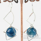 Lovely New Style Round Blue Agate And Loop Charm Dangle Earrings With Fish Hook
