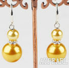 8-14mm light yellow acrylic pearl earrings