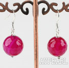 Nice Short Style 14Mm Pink Faceted Agate Dangle Earrings With Fish Hook