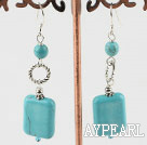Elegant Round And Rectangle Shape Burst Pattern Blue Turquoise Loop Charm Dangle Earrings