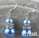 Lovely Short Style 8-14Mm Blue Acrylic Pearl And Rhinstone Charm Earrings