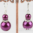 Nice Simple Style 8-14Mm Purple Round Acrylic Pearl Drop Earrings With Lever Back Hook