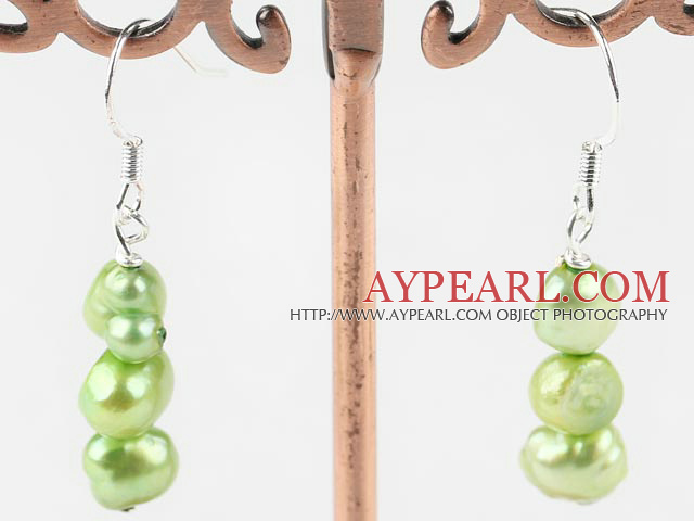 Lovely Layer Apple Green Freshwater Pearl Dangle Earrings With Fish Hook