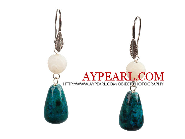 Lovely Fashion Style Drop Shape Phoenix Stone Fire Agate Dangle Earrings