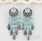 Popular 6Mm Burst Pattern Blue Round Turquoise And Leaf Charm Loop Earrings