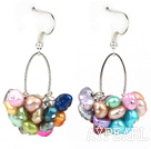 Beautiful Cluster Style Multi Color Freshwater Pearl Loop Dangle Earrings With Fish Hook
