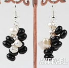 Wholesale Cluster Style White Freshwater Pearl and Black Agate Earrings