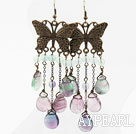 Vintage Style Drop Shape Rainbow Fluorite Earrings with Bronze Butterfly Accessories