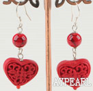Lovely Heart Shape Carved Cinnaba And Round Bloodstone Dangle Earrings