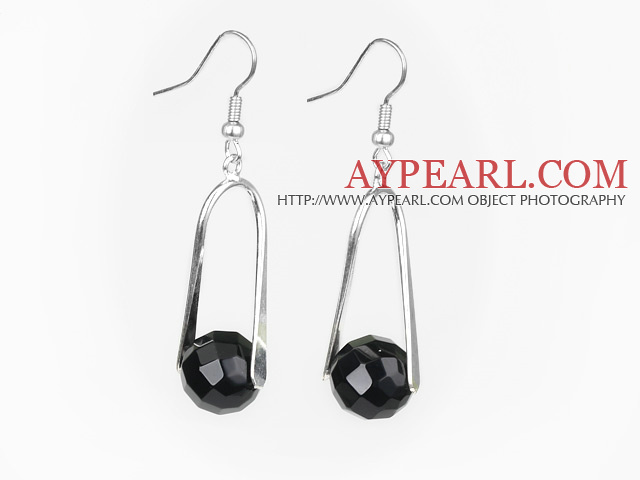 Lovely Round Faceted Black Agate And Loop Metal Dangle Earrings With Fish Hook