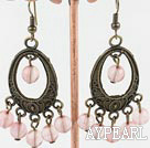Vintage Style Round Cherry Quartz And Bronze Loop Charm Dangle Earrings